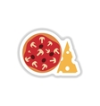 stylish paper sticker pizza with cheese and vector image