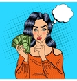 Young Pretty Woman with Money Pop Art vector image