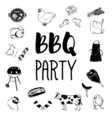 BBQ party logos and labels monochrome vector image