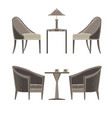 dining table two restaurant and chairs flat style vector image