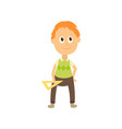 flat cartoon boy pupil isolated vector image