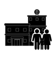 hospital and family pictogram icon vector image