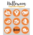 Halloween cupcake toppers with ghosts vector image
