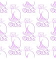 Cute line art cats seamless pattern with vector image