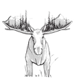 Moose Forest and Mountains vector image