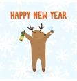 Happy new year deer with drink vector image vector image