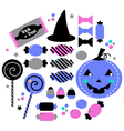Cute beautiful halloween sweets isolated on white vector image vector image