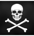 Human evil skull  Jolly Roger with vector image