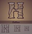 Halloween decorative alphabet - H letter vector image