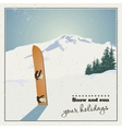 Old snowboard in the snow vector image