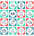 Set of 16 social network icons includes speaking vector image