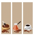 Banners with the turk bag and cup of coffee vector image vector image