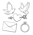 Wedding engagement icon set with doves heart vector image