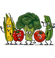 Comic vegetables group cartoon vector image