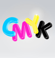 CMYK plastic glossy letters vector image