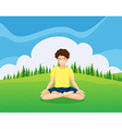 A young gentleman at the hilltop doing yoga vector image