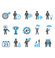 business metaphor icons set blue series vector image