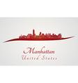 Manhattan skyline in red vector image