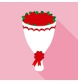 Big Bouquet of Red Roses in Flat Style vector image