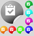 Check mark tik icon sign Set of eight vector image