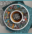 cup of coffee and automobile doodles on a saucer vector image