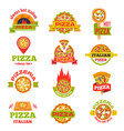 delivery pizza logo badge set vector image