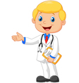 Cartoon doctor smiling and waving vector image