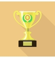 Trophy cup in flat style Icon gold goblet vector image