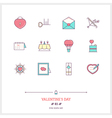 Valentine Day Line Icons Set vector image