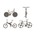 bicycle bike set cycle family transport vintage vector image
