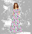 fashionable romantic girl in floral maxi dress vector image