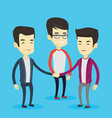 group of business men joining hands vector image