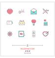 Valentine Day Line Icons Set vector image