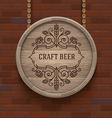 Wooden cask beer signboard vector image vector image