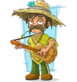 Cartoon farmer in straw hat with vector image