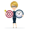 Business woman holding target and time clock vector image