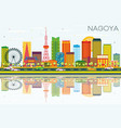 nagoya skyline with color buildings blue sky and vector image