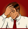 man suffering headache pop art retro vector image