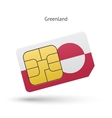 Greenland mobile phone sim card with flag vector image vector image