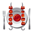 kebab with sauce vector image vector image