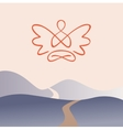 Meditation on a background of nature mountain vector image