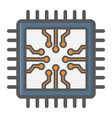 chip colorful line icon circuit board and cpu vector image