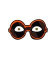 comic cartoon eyes in dark glasses vector image