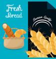 Fresh bread premium quality brochure image vector image