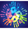 multi-colored prints of the hands vector image