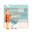 old lady in pharmacy choosing and buying drugs and vector image
