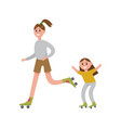 smiling mother with her daughter roller skating vector image