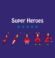 superhero actions icon set in cartoon colored vector image