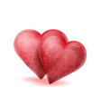 two red hearts with bubbles inside isolated on vector image