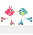 birds on roller skates vector image